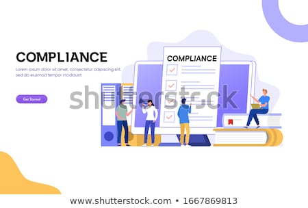 isometric flat vector landing page template of marketing checklist stock photo © tarikvision
