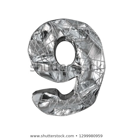 grunge · alumínio · fonte · número · nove · 3D - foto stock © djmilic