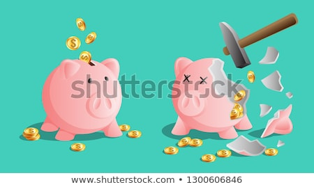 Stock fotó: Pink Piggy Bank Icon Moneybox With Cold Coins