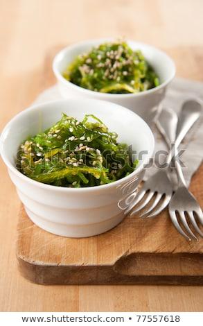 Deniz yosunu salata susam sağlıklı deniz plaka Stok fotoğraf © furmanphoto