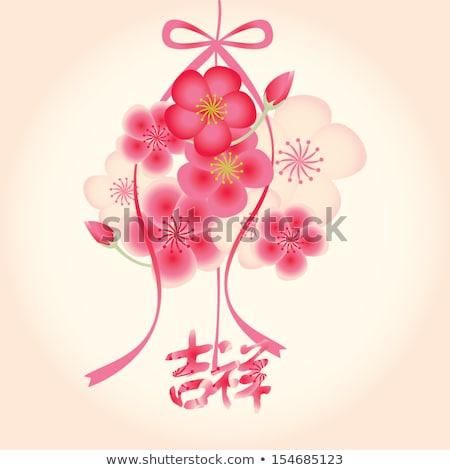 Kínai új év piros rózsaszín virágok kártya illusztráció Stock fotó © cienpies