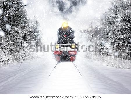 雪 · 鉄道 · 淡い · 青空 · 風景 · トラック - ストックフォト © vichie81