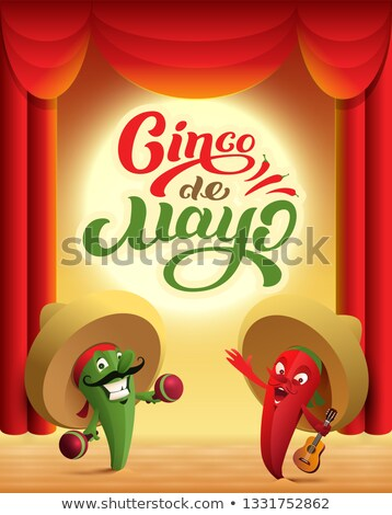 Mexican cactus and red chili pepper perform on stage. Cinco de mayo text holiday greeting card Stock photo © orensila
