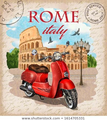 Olaszország · utazás · poszter · grunge · végtelen · minta · olasz · étel - stock fotó © robuart