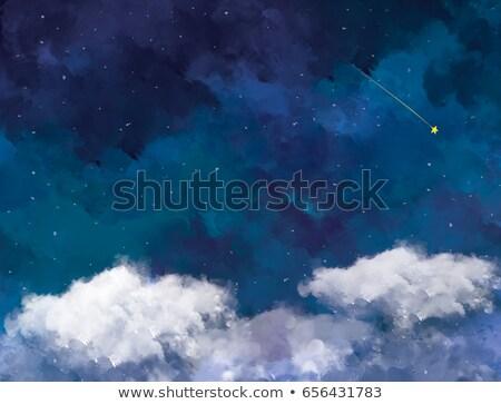 Blauw nachtelijke hemel witte pluizig wolken sterren Stockfoto © MarySan