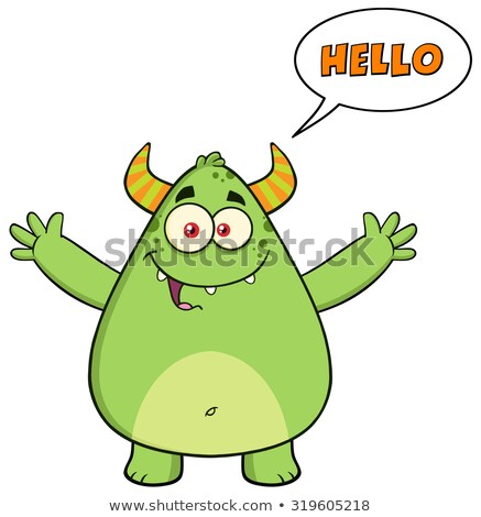 Happy Horned Green Monster Cartoon Character With Welcoming Open Arms And Speech Bubble Hello Text Stock photo © hittoon