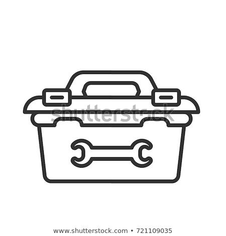 Retro Werkzeugkasten Symbol Farbe Design Holz Stock foto © angelp