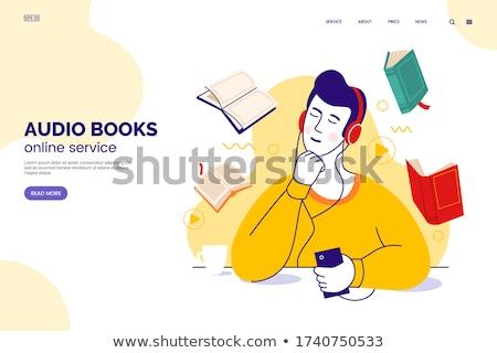 Listening to audiobooks - flat design style illustration stock photo © Decorwithme
