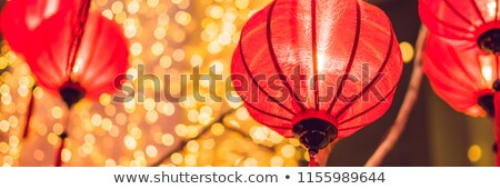 chinese lanterns during new year festival vietnamese new year banner long format stock photo © galitskaya