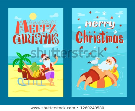 Neşeli Noel noel baba dalış kırmızı şapka Stok fotoğraf © robuart