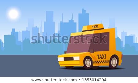 Yellow Taxi Car. on City Landscape Background. IsoFlat Styled Vector Illustration. Stock photo © tashatuvango