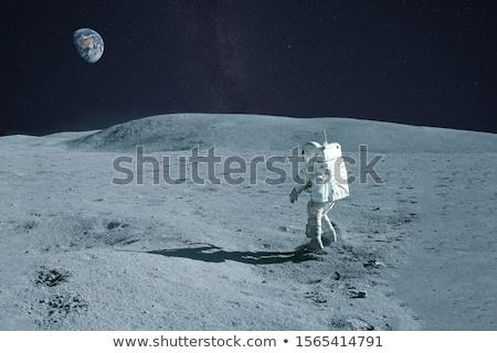 Foto stock: Astronauta · caminhada · lua · ilustração · paisagem · fundo