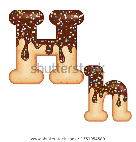 Tempting typography. Font design. 3D donut letter H glazed with  Stock photo © balasoiu