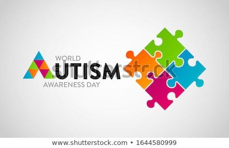 Blue autism ribbon. International autism awareness day ストックフォト © Imaagio