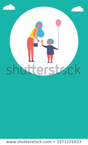 People in Park Poster Mother with Daughter in Circle Stock fotó © robuart