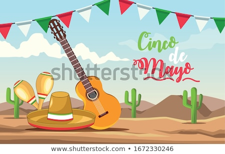 Cinco de Mayo mariachi hat card with culture icons Stock photo © cienpies