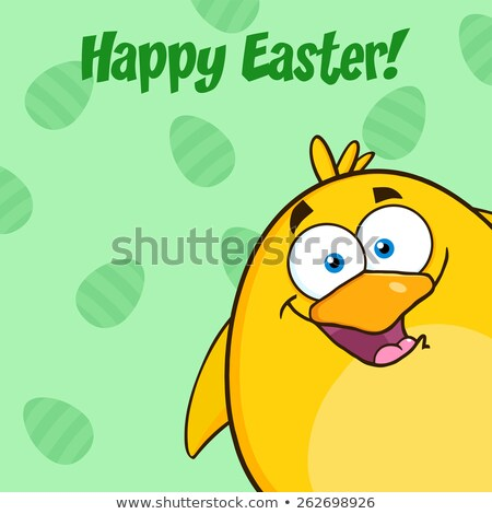 Happy Easter With Smiling Yellow Chick Cartoon Character Looking From A Corner Stock photo © hittoon