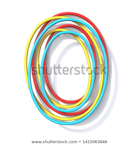 Three basic color wire font Letter O 3D Stock photo © djmilic