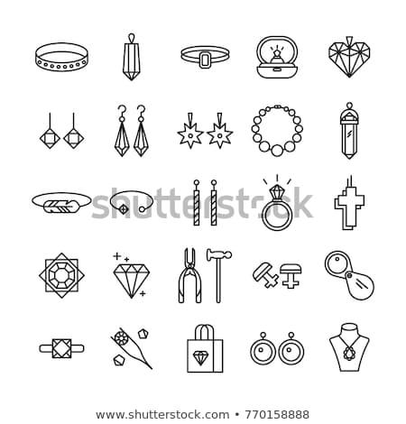 Mode weiblichen Schmuck Diamant Silber Ring Stock foto © pikepicture