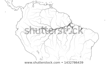 World Map of AMAZON SELVA REGION in SOUTH AMERICA: Amazon River, Brazil, Venezuela. Chart. Stock photo © Glasaigh