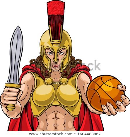 Spartaans trojaans gladiator basketbal krijger vrouw Stockfoto © Krisdog