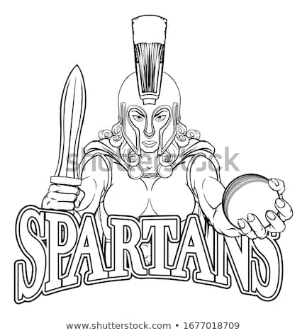 Foto stock: Spartan Trojan Gladiator Cricket Warrior Woman