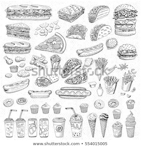 ハンバーガー ホットドッグ ピザ 手描き テンプレート 暗い ストックフォト © romvo