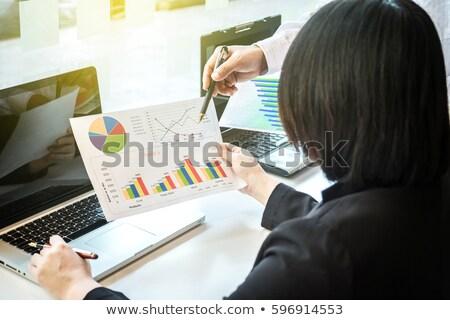 dois · olhando · relatório · discussão · escritório - foto stock © Freedomz