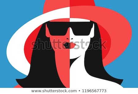Beautiful young model with big sunglasses close-up Stock photo © serdechny