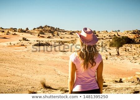 Vrouwelijke toeristische bezoeker naar uit woestijn Stockfoto © lovleah