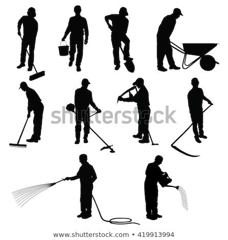 Gazdálkodás férfi gereblye ikon dolgozik föld Stock fotó © robuart