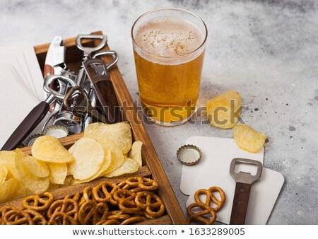 Glas bier vak snacks licht Stockfoto © DenisMArt