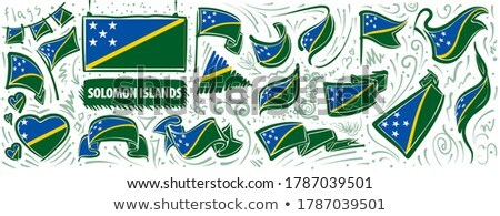 Vector set of the national flag of Solomon Islands in various creative designs Stock photo © butenkow