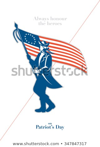 American Patriot Revolutionary Soldier Waving USA Flag Retro Black and White Stock photo © patrimonio