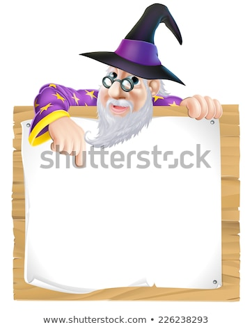 Magician pointing blank panel Stock photo © photography33