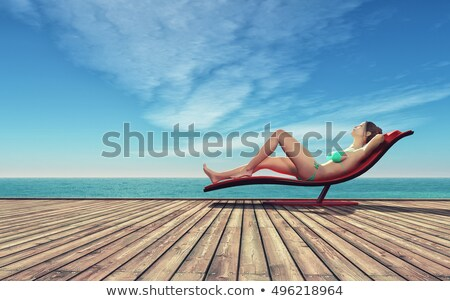 Woman sitting on a pontoon Stock photo © photography33