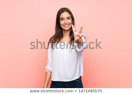 Stok fotoğraf: Güzel · kadın · el · gülümseme · yüz · kadın · gözler