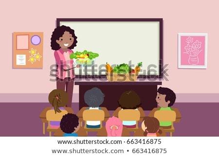 Stickman Kids Teacher Veggies Salad Illustration Stock photo © lenm