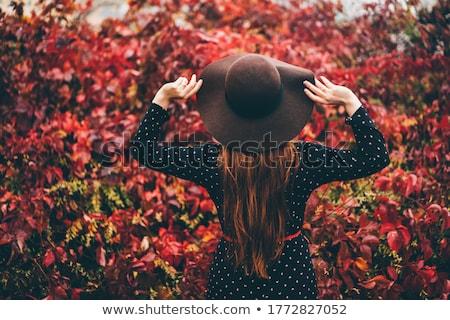 Foto stock: Mulher · floresta · queda · vermelho · folhas