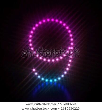 Pink blue dot light font Number 9 NINE 3D Stock photo © djmilic