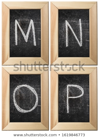 Retro hand drawn alphabet letters drawing with white chalk on black chalkboard, punctuation signs Stock photo © evgeny89