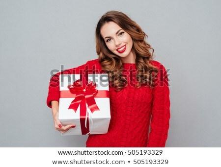 женщину настоящее белый бумаги сексуальная женщина изолированный Сток-фото © prg0383