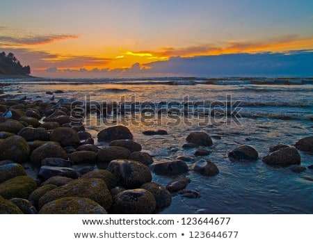 Fiery Sunset at a Rocky Beach on the Oregon Coast Stock photo © Frankljr