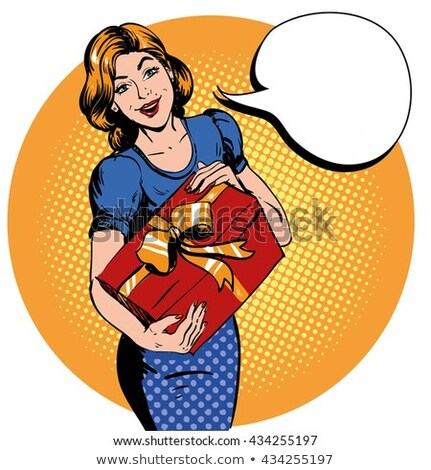 cartoon pin up woman with box with thought bubble Stock photo © lineartestpilot