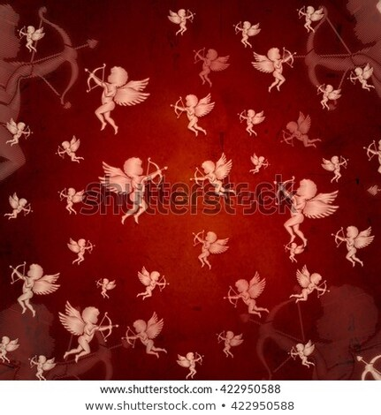 Cupid Silhouettes Over Red Old Paper Stockfoto © marinini