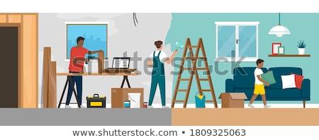 mulher · três · de · um · tipo · melhoramento · da · casa · casa · casa - foto stock © is2