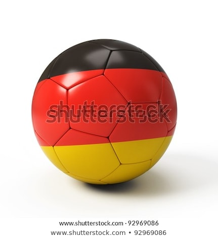 soccer football ball and flag of Germany with goal at soccer net stock photo © Wetzkaz