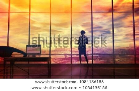 окружающий силуэта женщину служба Сток-фото © ConceptCafe