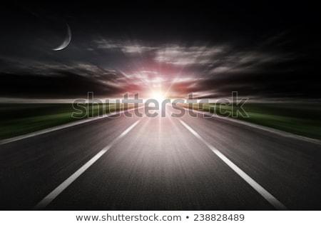 raining at night road side stock photo © colematt