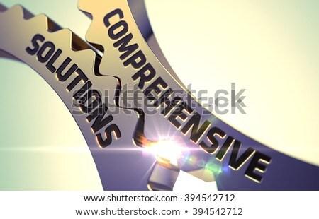 dourado · roda · dentada · engrenagens · negócio · consultor · 3D - foto stock © tashatuvango